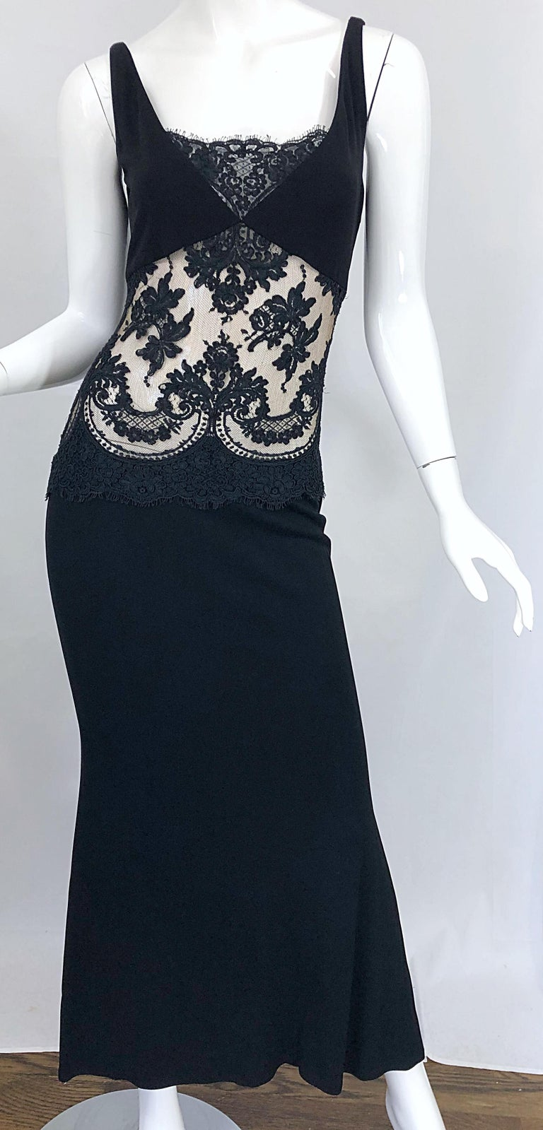1990s Randolph Duke Black Sexy Lace Cut-Out Sleeveless Vintage 90s Evening Gown For Sale 2
