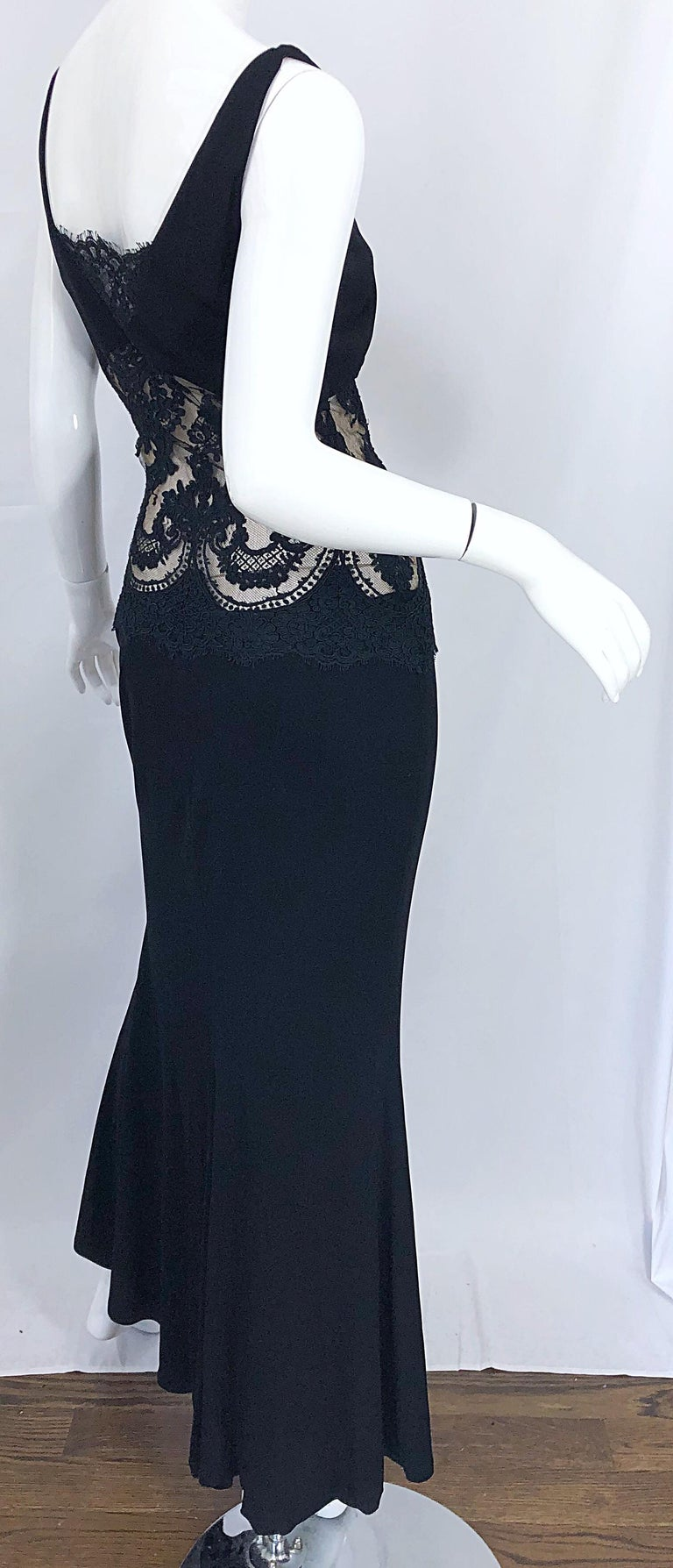 1990s Randolph Duke Black Sexy Lace Cut-Out Sleeveless Vintage 90s Evening Gown For Sale 3