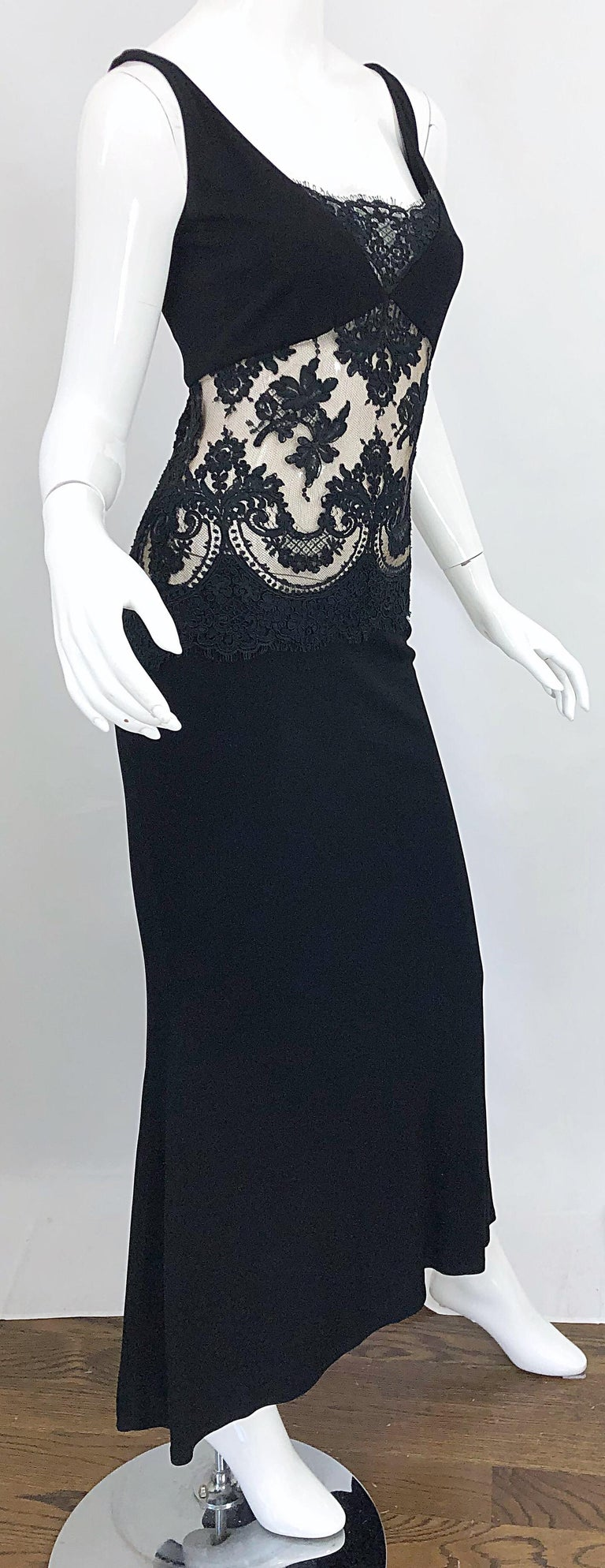 1990s Randolph Duke Black Sexy Lace Cut-Out Sleeveless Vintage 90s Evening Gown For Sale 4