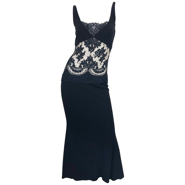1990s Randolph Duke Black Sexy Lace Cut-Out Sleeveless Vintage 90s Evening Gown For Sale
