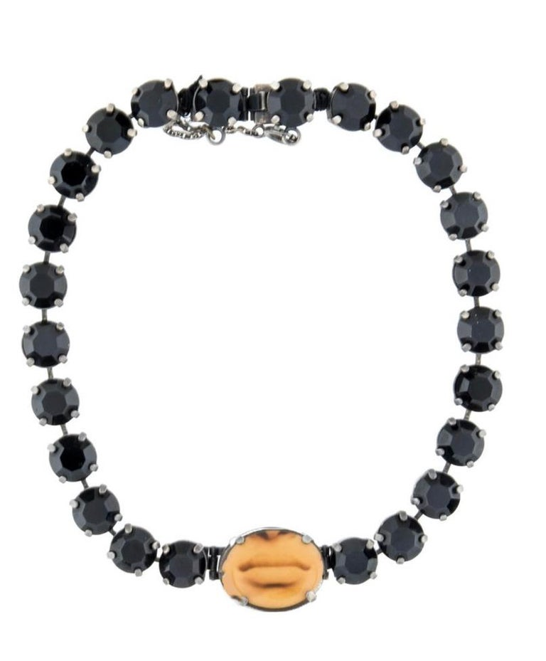 1990s rare Jean Paul Gaultier black rhinestone choker with mouth image  In Excellent Condition For Sale In Austin, TX