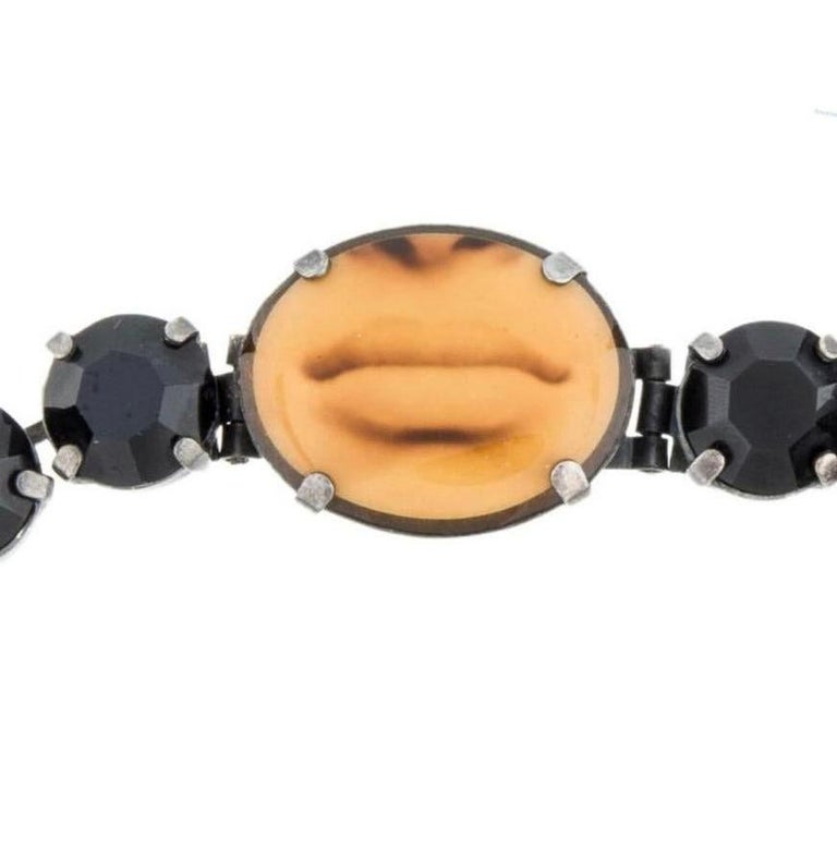 Women's 1990s rare Jean Paul Gaultier black rhinestone choker with mouth image  For Sale