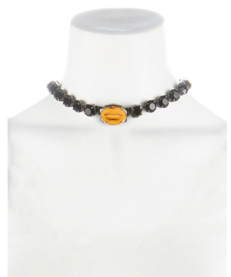 1990s rare Jean Paul Gaultier black rhinestone choker with mouth image  For Sale 1