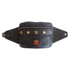 1990s Rare MCM Black Leather Chain Belt Fanny Pack