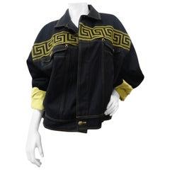 1990s Rare Versace Greek Key Denim Jacket