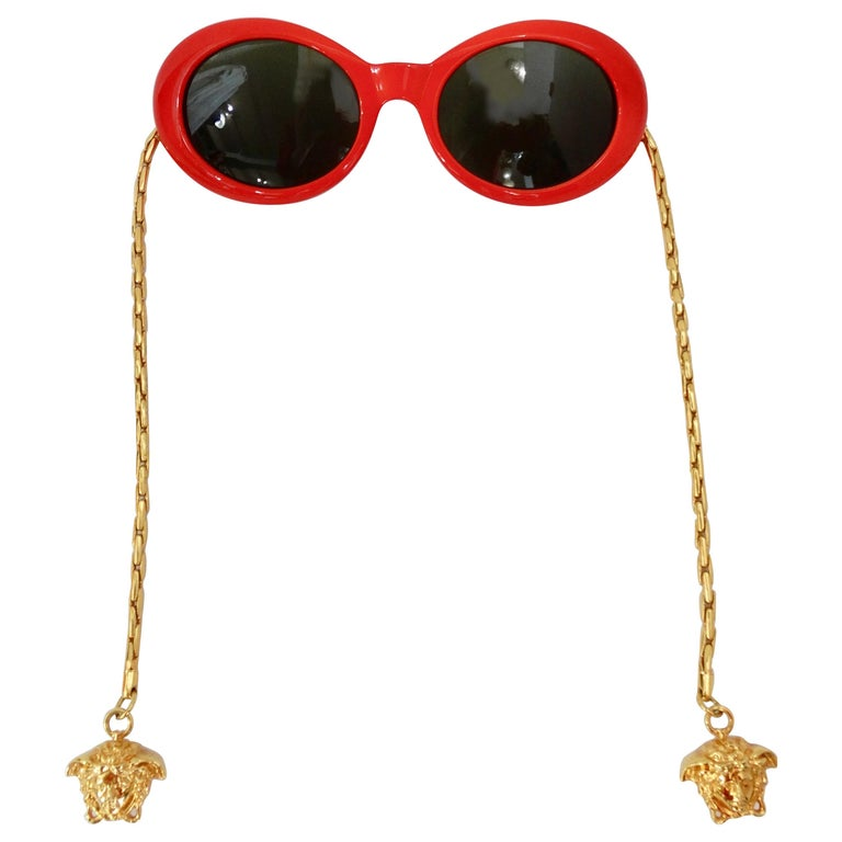 1990s Rare Versace Lipstick Red Oval Sunglasses with Medusa Head Chain Arms  For Sale