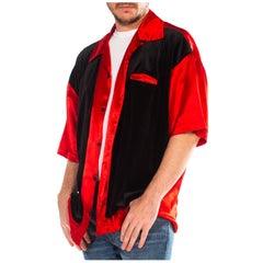 1990S Red & Black Acetate Poly Satin Velvet Short Sleeve Rat Pack Shirt