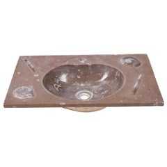 1990s Red Fossil Limestone Wash Basin