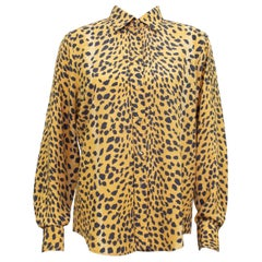 1990s Rena Lange Leopard Print Silk Shirt