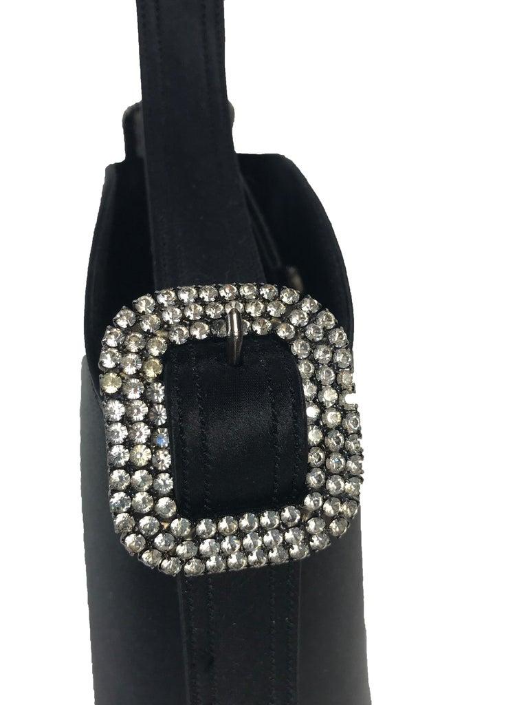 Black 1990s Renaud Pellegrino black satin mini evening bag For Sale