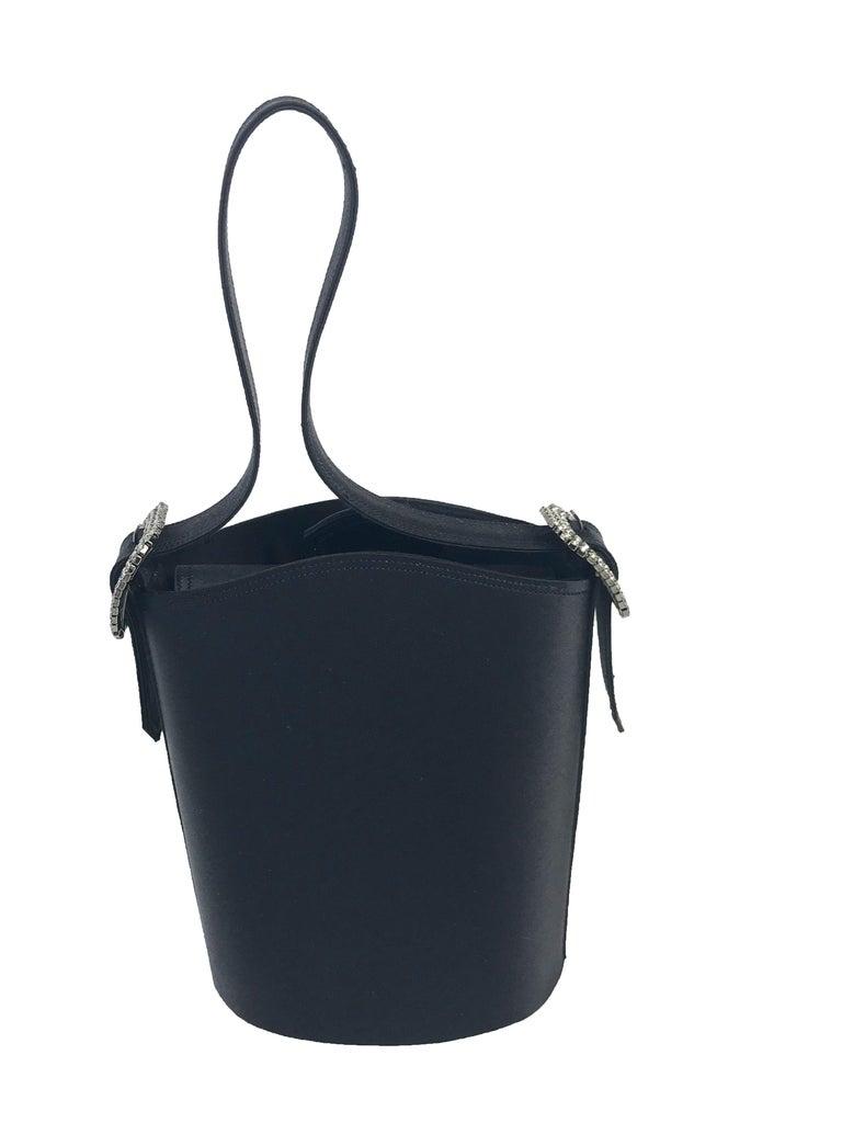 1990s Renaud Pellegrino black satin mini evening bag In Excellent Condition For Sale In Austin, TX