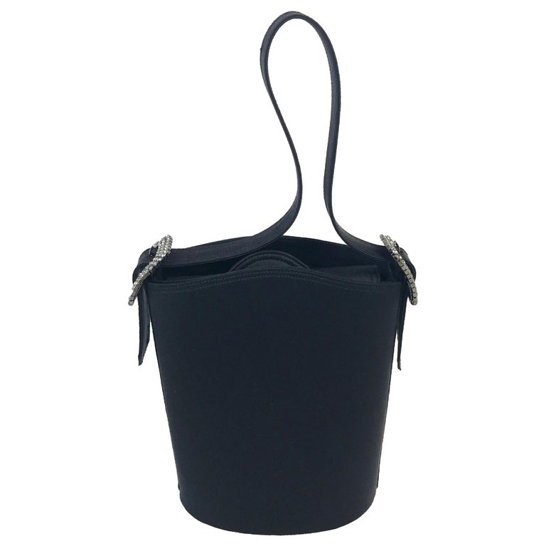 1990s Renaud Pellegrino black satin mini evening bag For Sale