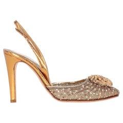 1990s René Caovilla Gold Heeled Sandals