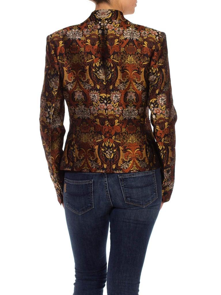 1990S RICHARD TYLER Black, Brown & Gold Silk Jacquard Jacket For Sale 7