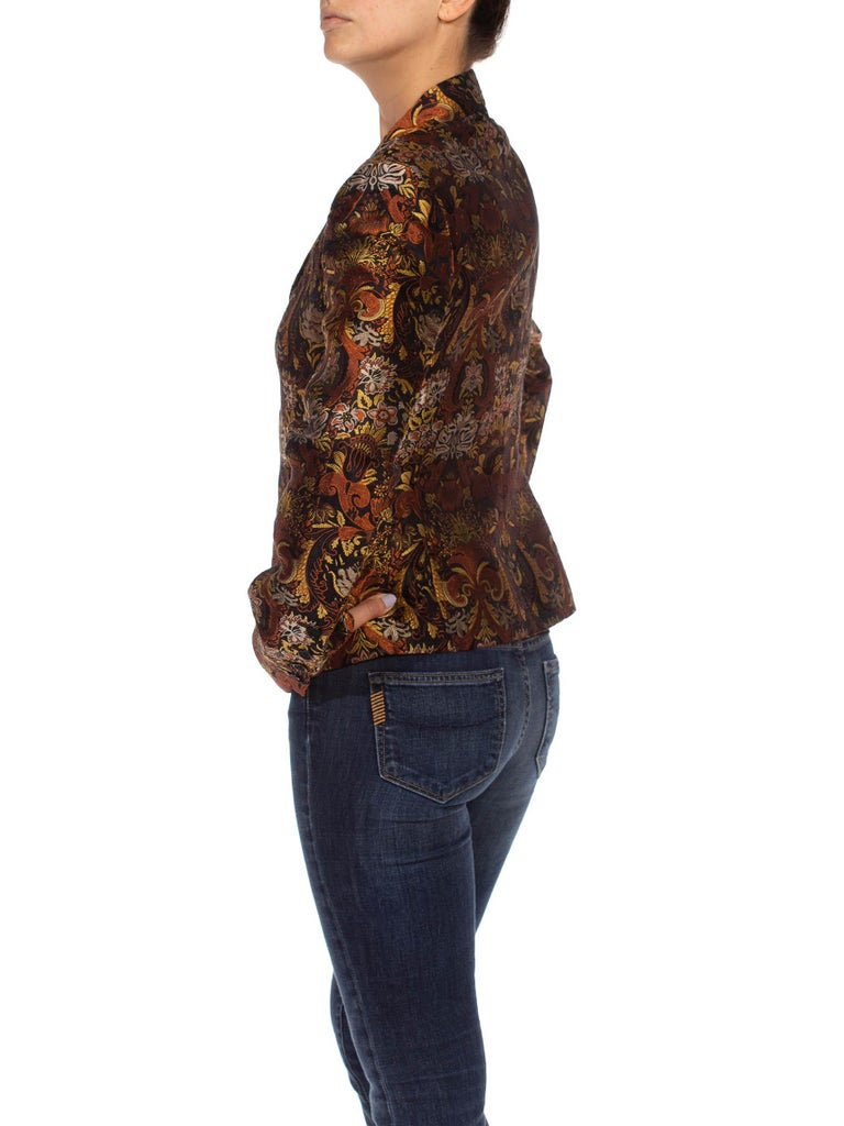 1990S RICHARD TYLER Black, Brown & Gold Silk Jacquard Jacket In Excellent Condition For Sale In New York, NY
