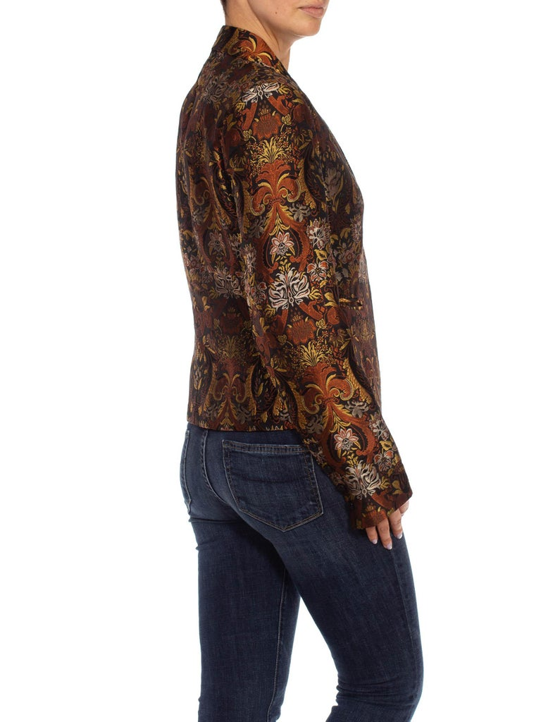 Women's 1990S RICHARD TYLER Black, Brown & Gold Silk Jacquard Jacket For Sale