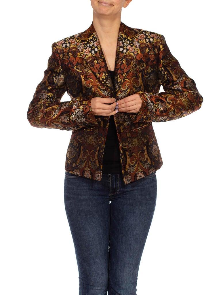 1990S RICHARD TYLER Black, Brown & Gold Silk Jacquard Jacket For Sale 1