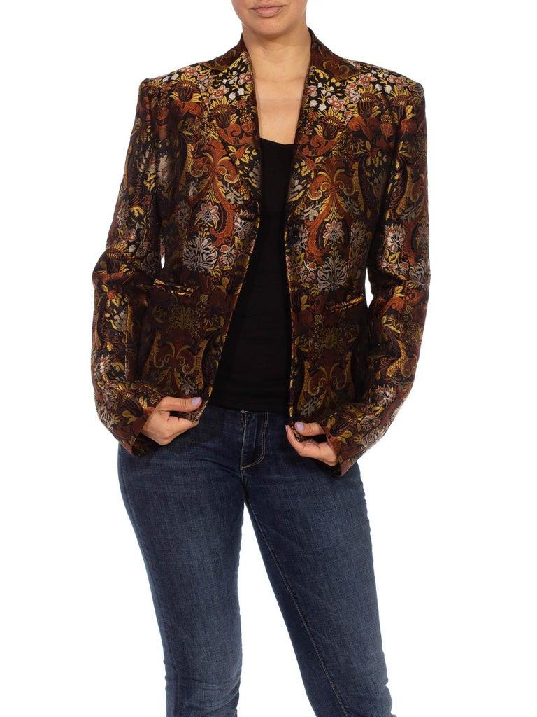1990S RICHARD TYLER Black, Brown & Gold Silk Jacquard Jacket For Sale 2