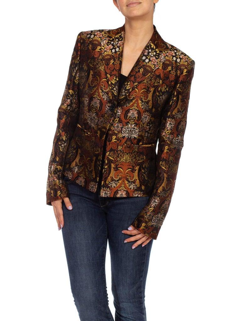 1990S RICHARD TYLER Black, Brown & Gold Silk Jacquard Jacket For Sale 3