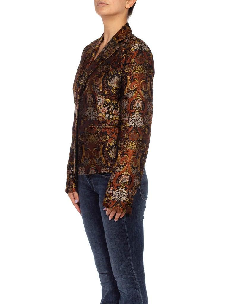1990S RICHARD TYLER Black, Brown & Gold Silk Jacquard Jacket For Sale 4