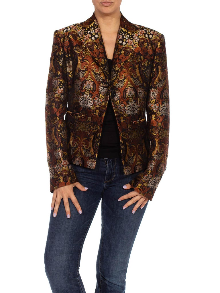 1990S RICHARD TYLER Black, Brown & Gold Silk Jacquard Jacket For Sale 5
