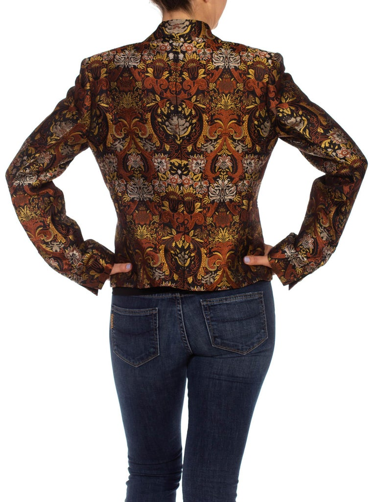 1990S RICHARD TYLER Black, Brown & Gold Silk Jacquard Jacket For Sale 6