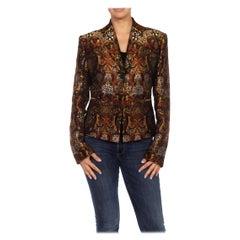 1990S RICHARD TYLER Black, Brown & Gold Silk Jacquard Jacket
