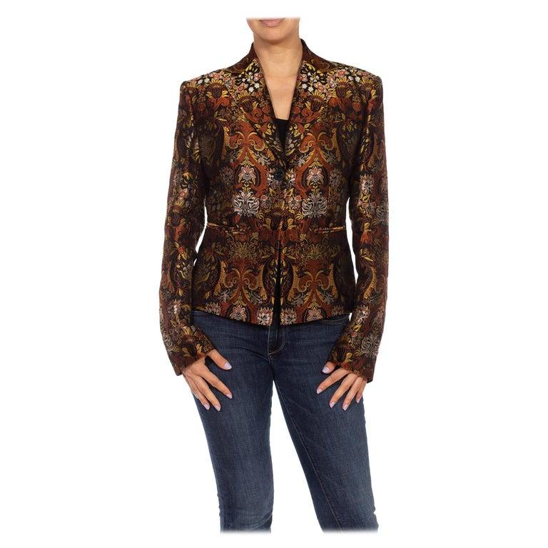 1990S RICHARD TYLER Black, Brown & Gold Silk Jacquard Jacket For Sale