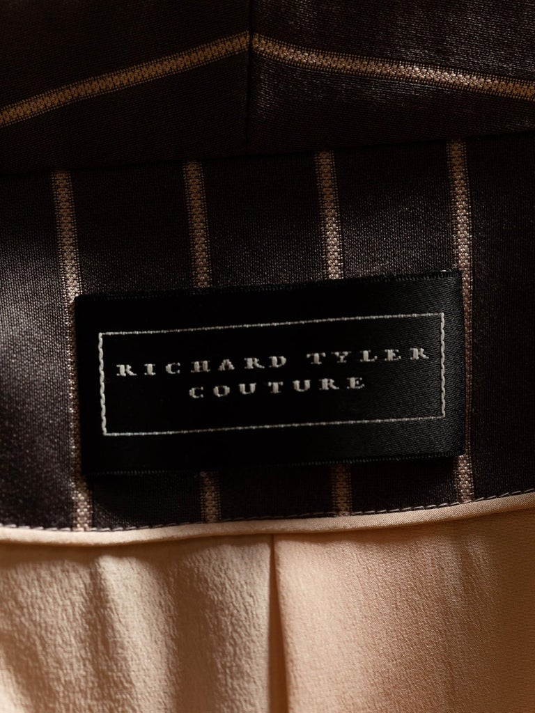 1990S RICHARD TYLER Grey Silk Custom Couture Dress & Jacket For Sale 6