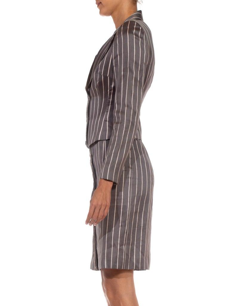 Gray 1990S RICHARD TYLER Grey Silk Custom Couture Dress & Jacket For Sale