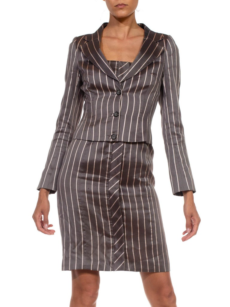 1990S RICHARD TYLER Grey Silk Custom Couture Dress & Jacket In Excellent Condition For Sale In New York, NY