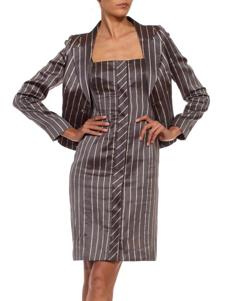 Women's 1990S RICHARD TYLER Grey Silk Custom Couture Dress & Jacket For Sale