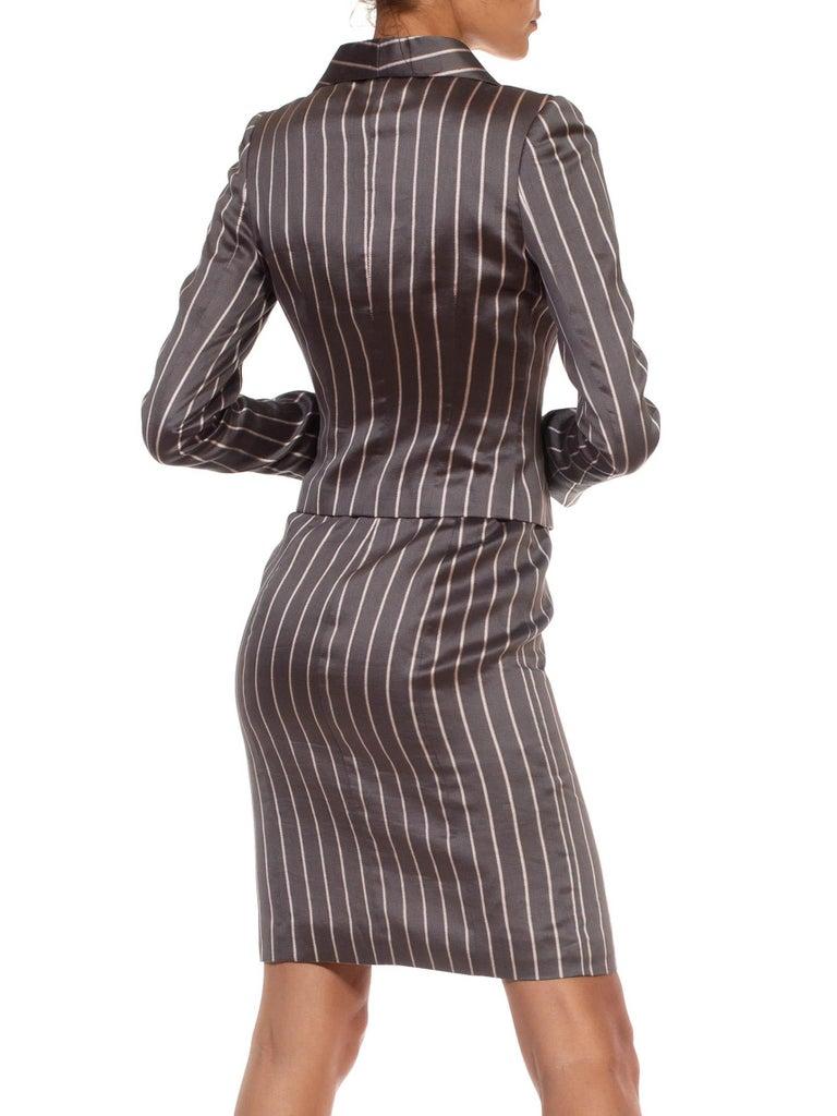 1990S RICHARD TYLER Grey Silk Custom Couture Dress & Jacket For Sale 1