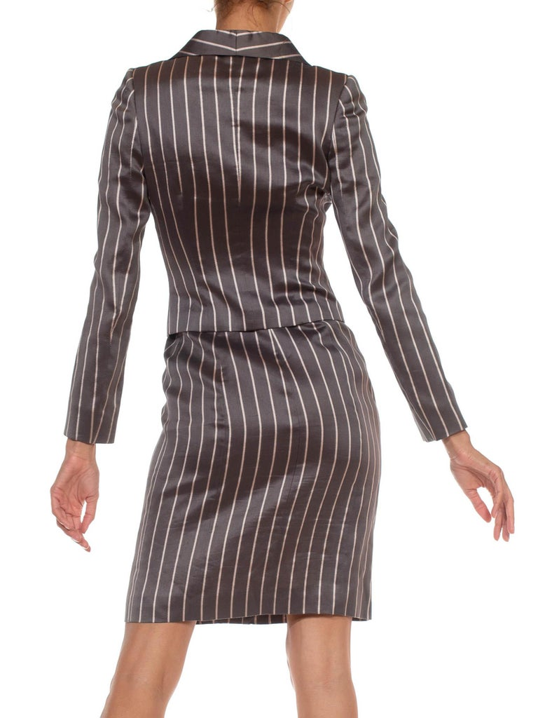 1990S RICHARD TYLER Grey Silk Custom Couture Dress & Jacket For Sale 2