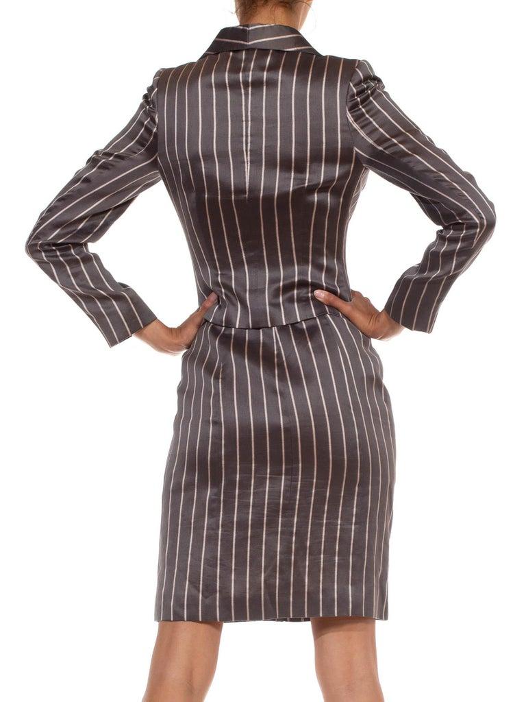1990S RICHARD TYLER Grey Silk Custom Couture Dress & Jacket For Sale 3