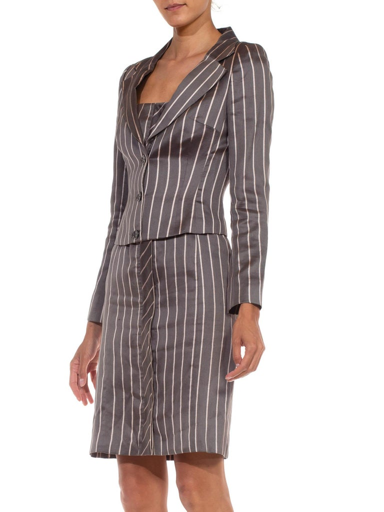1990S RICHARD TYLER Grey Silk Custom Couture Dress & Jacket For Sale 4