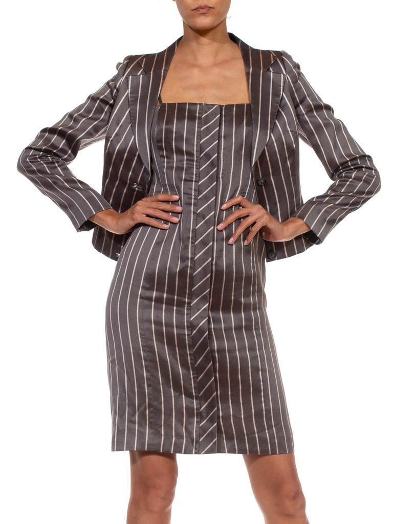 1990S RICHARD TYLER Grey Silk Custom Couture Dress & Jacket For Sale 5