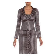 1990S RICHARD TYLER Grey Silk Custom Couture Dress & Jacket