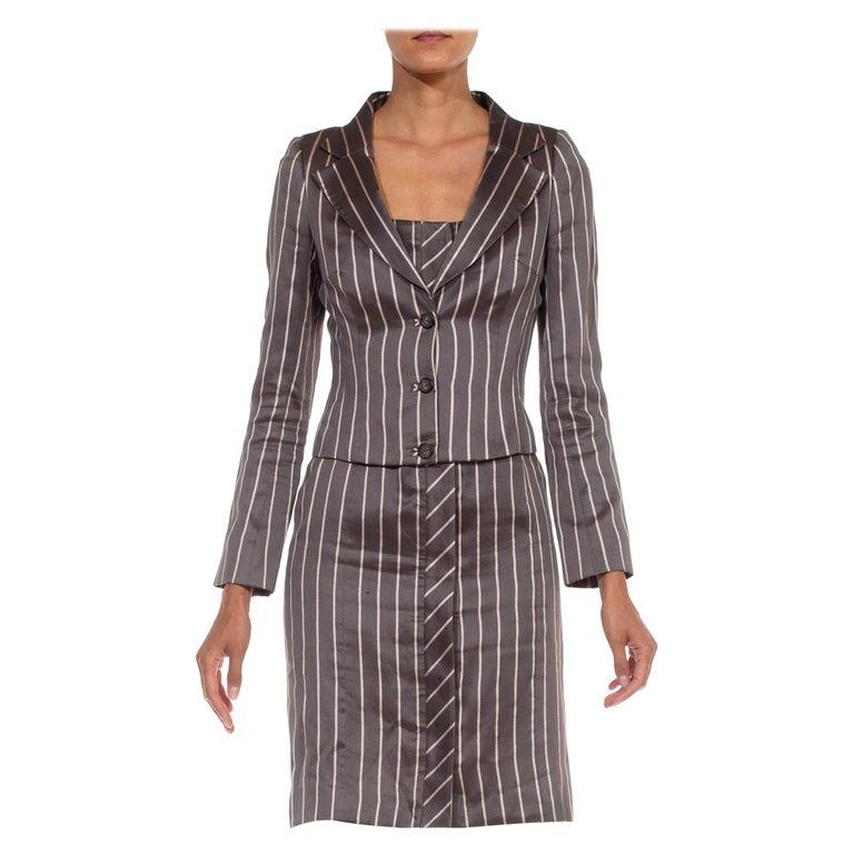 1990S RICHARD TYLER Grey Silk Custom Couture Dress & Jacket For Sale