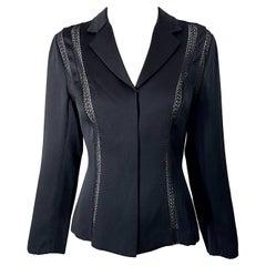 1990s Richard Tyler Size 4 Black Silk Cut - Out Vintage 90s Blouse Shirt Top