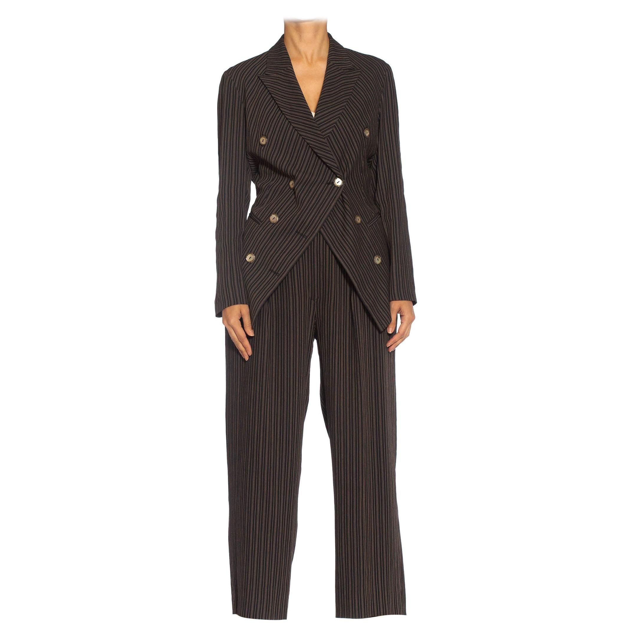 1990S RIFAT OZBEK Black & Beige Linen Blend Pinstripe Pant Suit