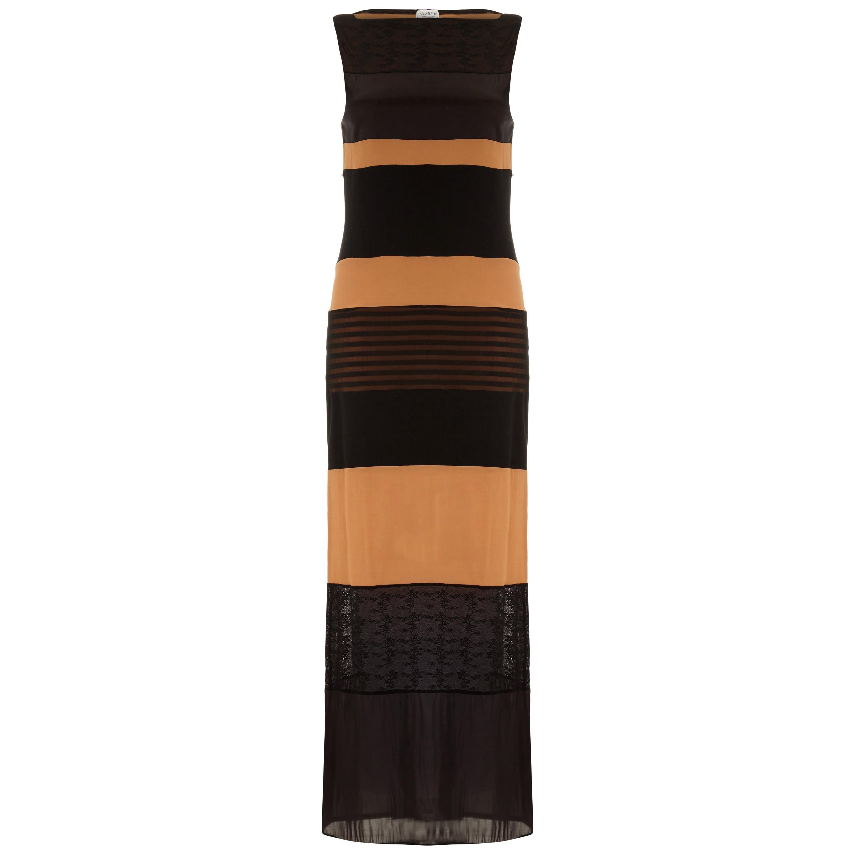 1990s Rifat Ozbek Striped Black & Nude Maxi Dress