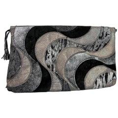 1990s Roberto Cavalli Black Silver Leather Suede Handbag