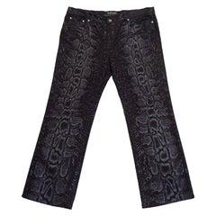 1990s Roberto Cavalli Black Snake Print Jeans