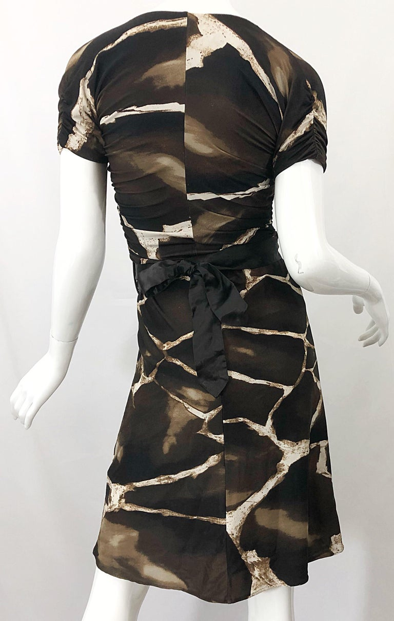 1980s Roberto Cavalli for Neiman Marcus Giraffe Print Vintage 80s Jersey Dress For Sale 5