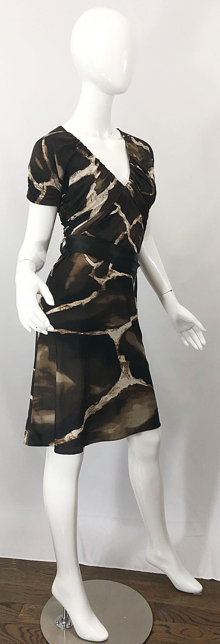 1980s Roberto Cavalli for Neiman Marcus Giraffe Print Vintage 80s Jersey Dress For Sale 6
