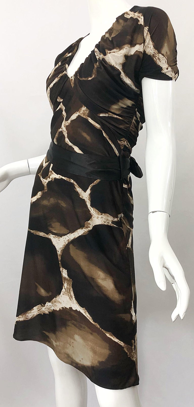 1980s Roberto Cavalli for Neiman Marcus Giraffe Print Vintage 80s Jersey Dress For Sale 7