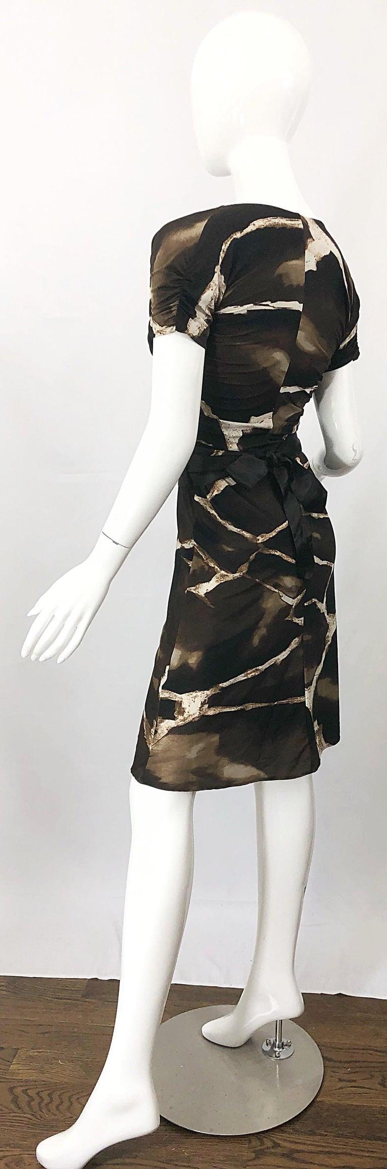 1980s Roberto Cavalli for Neiman Marcus Giraffe Print Vintage 80s Jersey Dress For Sale 8
