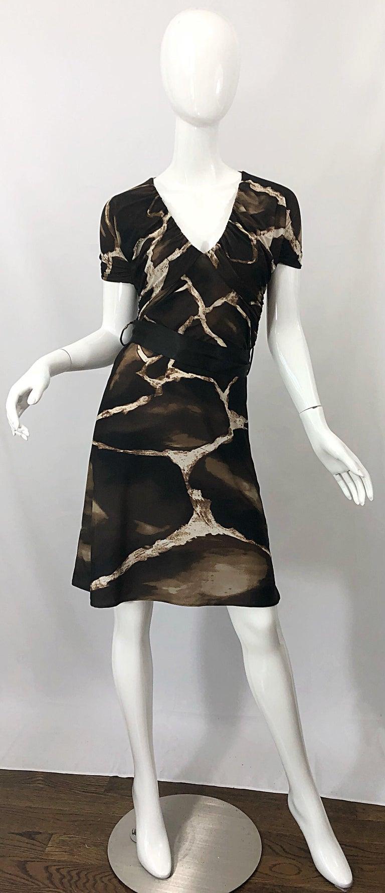 1980s Roberto Cavalli for Neiman Marcus Giraffe Print Vintage 80s Jersey Dress For Sale 9