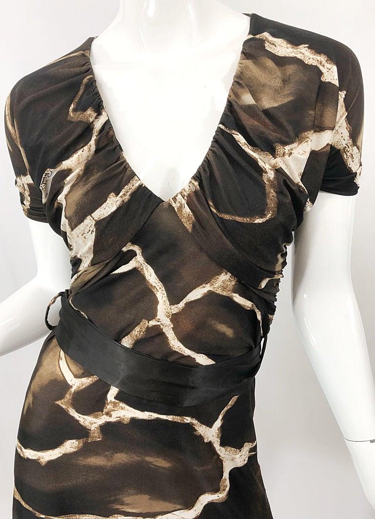 Black 1980s Roberto Cavalli for Neiman Marcus Giraffe Print Vintage 80s Jersey Dress For Sale